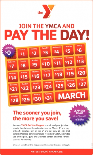 Join the YMCA and Pay The Day!