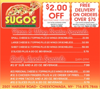 Pizza & Wing Combo Specials