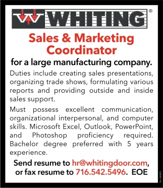 Sales & Marketing Coordinator