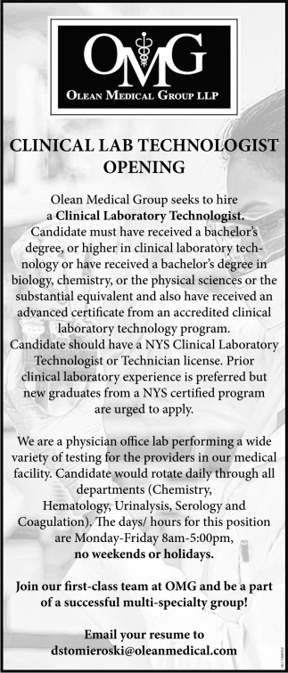 Clinical Lab Technologist Opening