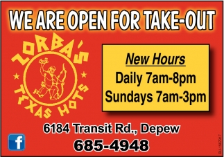 We are Open for Take-Out