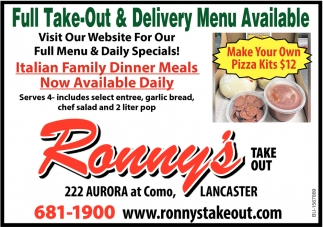Full Take-Out & Delivery Menu Available