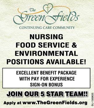 Nursing Food Service & Environmental Positions