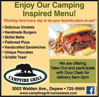 Enjoy Our Camping Inspired Menu!