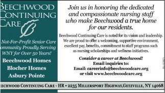 Consider a Career of Beechwood!