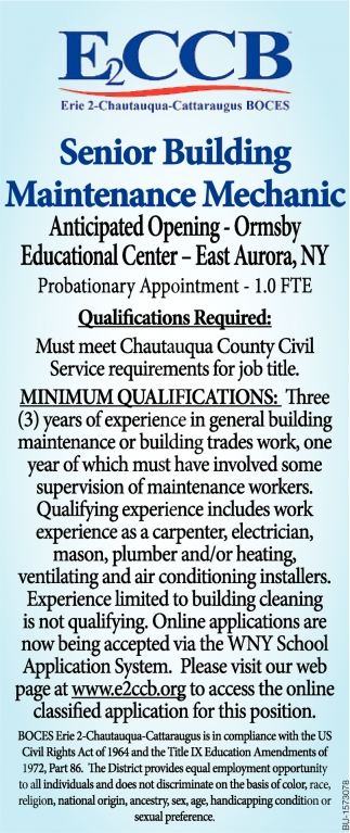 Senior Building Maintenance Mechanic