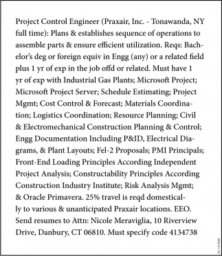Project Control Engineer