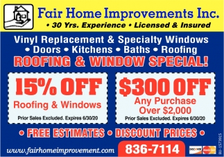 Roofing & Window Special