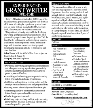 Experience Grant Writer Full-Time