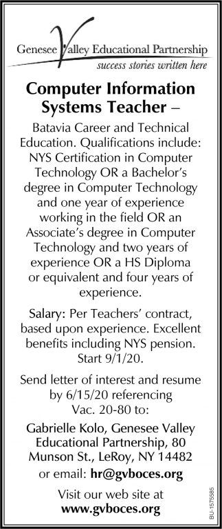 Computer Information Systems Teacher
