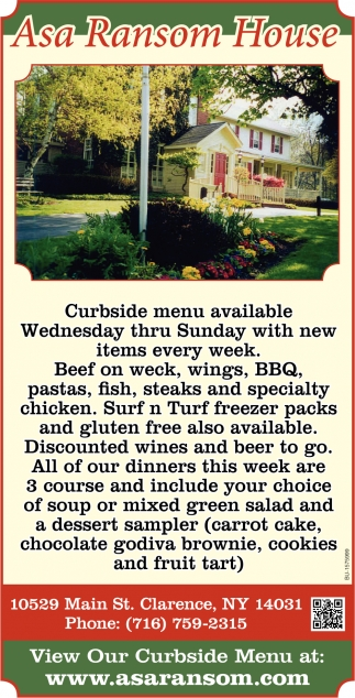 Curbside Menu Availalble
