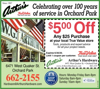 Celebrating Over 100 Years of Service In Orchard Park