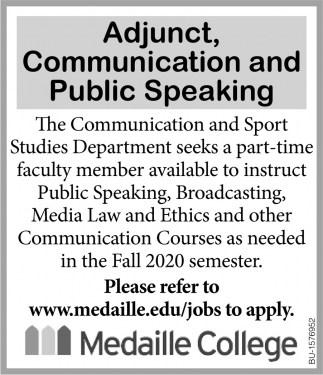 Adjunct, Communication and Public Speaking
