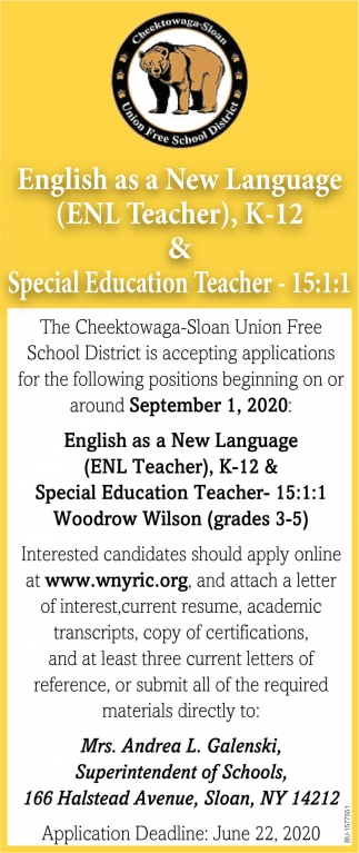 ENL Teacher & Special Education Teacher