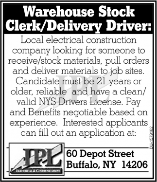Warehouse Stock Clerk/Delivery Driver
