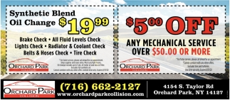 $5 OFF Any Mechanical Service Over $50.00 Or More