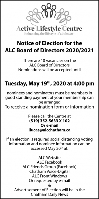 Notice Of Election For The ALC Board Of Directors,