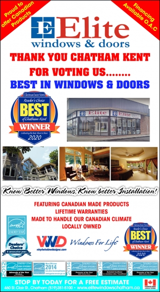 Thank You Chatham Kent For Voting Us...