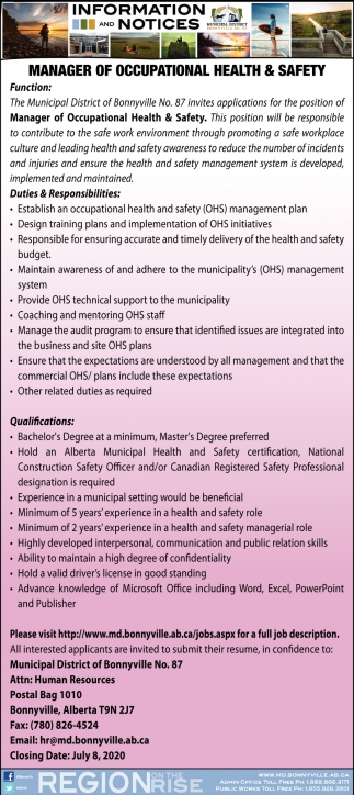 Manager of Occupational Health & Safety