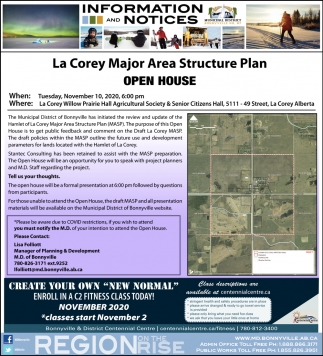 La Corey Major Area Structure Plan Open House