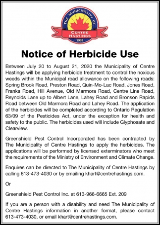 Notice of Herbicide Use