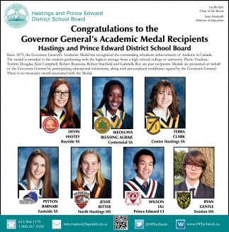 Congratulations to the Governor General's Academic Medal Recipients Hastings and Prince Edward District School Board