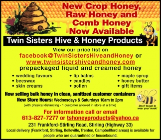New Crop Honey, Raw Honey and Comb Honey Now Available