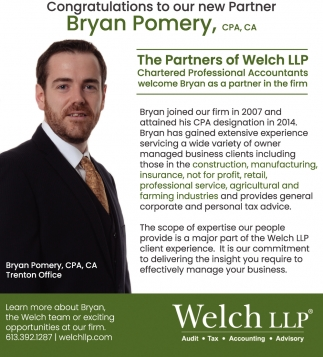 Congratulations to Our New Partner Bryan Pomery