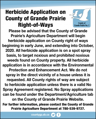 Herbicide Application On County of Grande Prairie Right-of-Ways