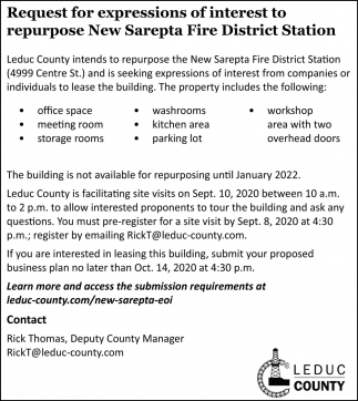 Request For Expressions Of Interest To Repurpose New Sarepta Fire District Station
