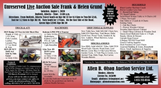 Unreserved Live Auction Sale Frank & Helen Ground