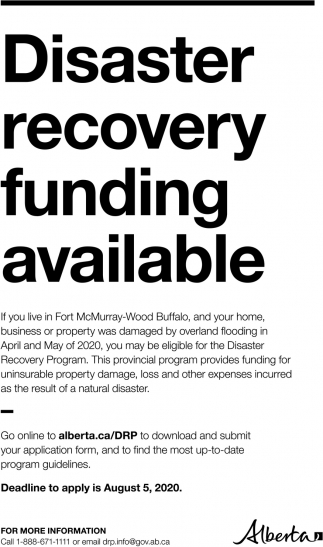 Disaster Recovery Funding Available