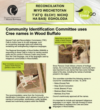 Community Identification Committee Uses Cree Names in Wood Buffalo