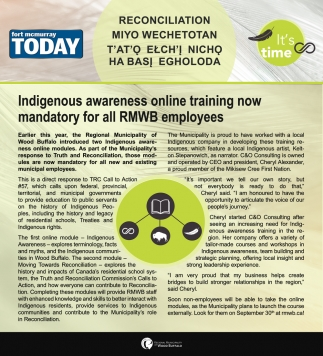 Indigenous Awareness Online Training Now Mandatory for All RMWB Employees