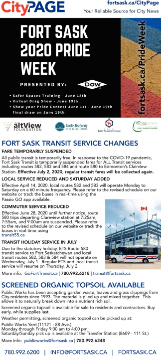 Fort Sask Transit Service Changes