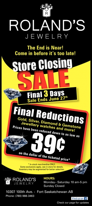 Store Closing Sale - Final 3 Days