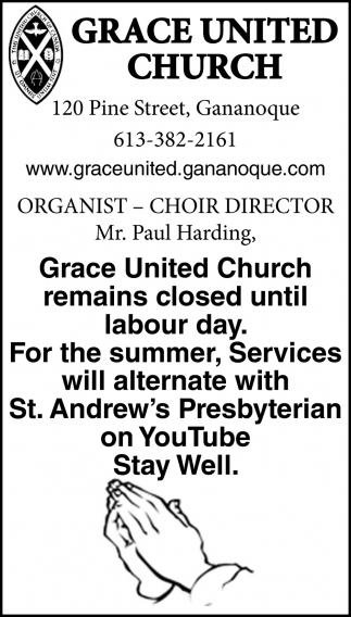 Grace United Church Remains Closed Until Labour Day