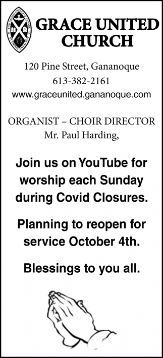 Join Us On YouTube for Worship Each Sunday During Covid Closures