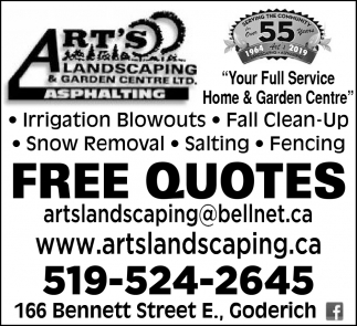 Free Quotes Art S Landscaping Garden Centre Ltd Goderich On