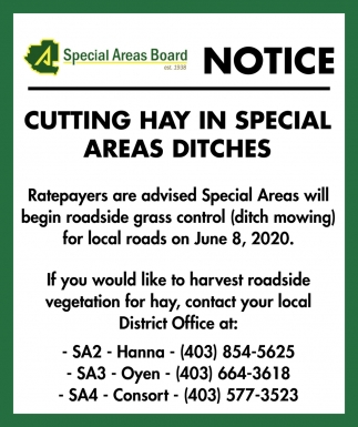 Notice - Cutting Hay In Special Areas Ditches