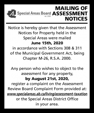 Mailing Of Assessment Notices