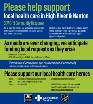 Please Help Support Local Health Care In High River & Nanton