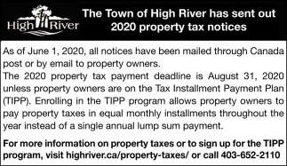 The Town Of High River Has Sent Out 2020 Property Tax Notices