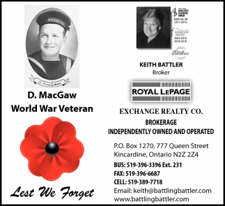 D. MacGaw World War Veteran
