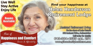 Find Your Happiness at Helen Henderson Retirement Lodge