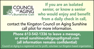 Contact the Kingston Council On Aging Sunshine