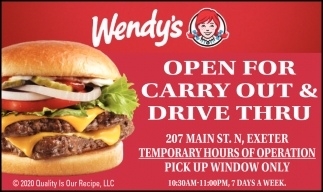 Open For Carry Out & Drive Thru