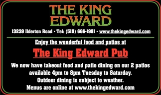 Enjoy The Wonderful Food And Patios At The King Edward Pub