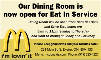 Our Dining Room Is Now Open For Eat In Service
