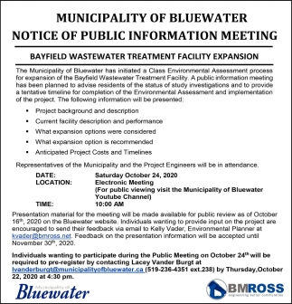 Municipality Of Bluewater Notice Of Public Information Meeting